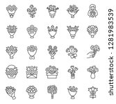 bouquet of flowers  icon set.... | Shutterstock .eps vector #1281983539