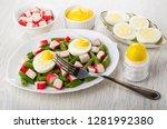 green beans with crab sticks ...   Shutterstock . vector #1281992380