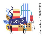 closed factory with workers... | Shutterstock .eps vector #1282007479