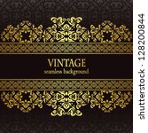 vintage seamless wallpaper with ... | Shutterstock .eps vector #128200844