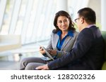 businesspeople with digital... | Shutterstock . vector #128202326