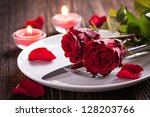 table setting for valentines... | Shutterstock . vector #128203766
