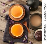 caramel glazed tarts on wooden... | Shutterstock . vector #1282037920