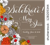 invitation or wedding card with ... | Shutterstock .eps vector #128205344