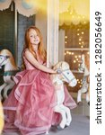 beautiful red haired girl with... | Shutterstock . vector #1282056649