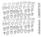love heart hand drawing vector  | Shutterstock .eps vector #1282057129