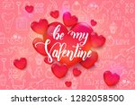 valentine's day background with ... | Shutterstock . vector #1282058500