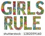 words girls rule. vector...   Shutterstock .eps vector #1282059160