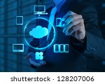 Stock photo businessman working with a cloud computing diagram on the new computer interface 128207006