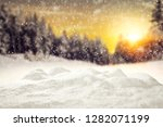 Winter Background Of Snow With...