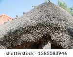 reed roof of an old wooden... | Shutterstock . vector #1282083946
