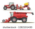 stock vector set farm machinery ... | Shutterstock .eps vector #1282101430