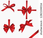 realistic red bow collection.... | Shutterstock .eps vector #1282104016