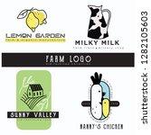 farm logo set. 4 premade logos... | Shutterstock .eps vector #1282105603
