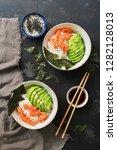 bowl with hawaiian salmon poke  ... | Shutterstock . vector #1282128013
