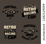 vintage motorcycle logo | Shutterstock .eps vector #1282129099