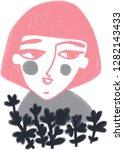 portrait of thoughtful girl... | Shutterstock . vector #1282143433