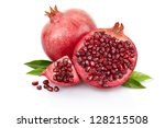 pomegranate with leaves... | Shutterstock . vector #128215508