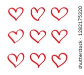 set of hand drawn hearts.... | Shutterstock .eps vector #1282175320