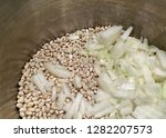 navy beans and onions in a... | Shutterstock . vector #1282207573