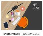 my desk. vector illustration | Shutterstock .eps vector #1282242613