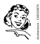 Cute Gal Pointing - Retro Clipart Illustration   Shutterstock vector #128233874