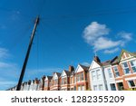 old vintage wood electric poles ... | Shutterstock . vector #1282355209
