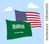 us saudi arabia flags and... | Shutterstock . vector #1282364320