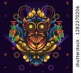 owl ornamental sacred geometry... | Shutterstock .eps vector #1282370206