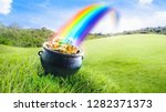 pot at the end of the rainbow... | Shutterstock . vector #1282371373