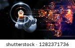 finger pressing power button...   Shutterstock . vector #1282371736