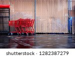 urban alley with shopping carts   Shutterstock . vector #1282387279