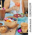 blue smoothie bowl for breakfast   Shutterstock . vector #1282401199
