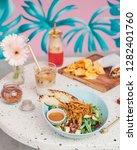healthy chicken salad for lunch   Shutterstock . vector #1282401760