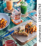vegetable wrap served with...   Shutterstock . vector #1282401763