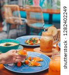 raw vegetarian snacks  pizza   Shutterstock . vector #1282402249