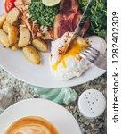 egg and bacon for breakfast...   Shutterstock . vector #1282402309