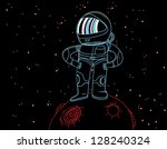 astronaut in a little red planet | Shutterstock .eps vector #128240324