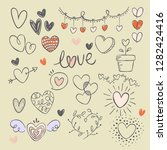 heart collection hand drawn | Shutterstock .eps vector #1282424416