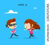 a boy is stealing a girl's heart | Shutterstock .eps vector #1282425286