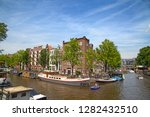 amsterdam   july 10  canals of... | Shutterstock . vector #1282432510