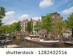 amsterdam   july 10  canals of... | Shutterstock . vector #1282432516