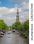 amsterdam   july 10  canals of... | Shutterstock . vector #1282432540