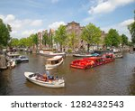 amsterdam   july 10  canals of... | Shutterstock . vector #1282432543