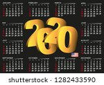 2020 black calendar in english... | Shutterstock .eps vector #1282433590