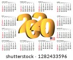 2020 calendar in english usa.... | Shutterstock .eps vector #1282433596