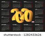2020 black calendar in english... | Shutterstock .eps vector #1282433626