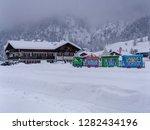 children's ski school in snowy...   Shutterstock . vector #1282434196