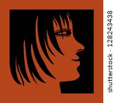 orange woman profile - stock vector