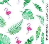 hand drawn seamless tropical... | Shutterstock . vector #1282438720